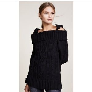J.O.A black candle knit off the shoulder sweater